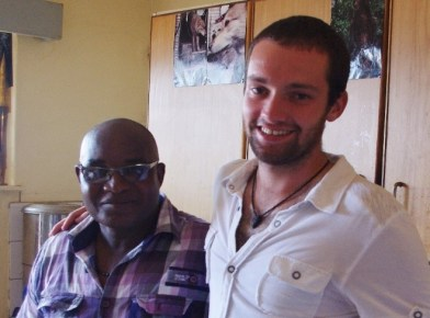 Grandson Andre with colleague at Peace Corps site in Namibia