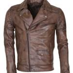 Men's Brown Vintage Designer Brando Genuine Leather Jacket