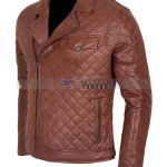 Mens Brown Biker Soft Casual Leather Jacket Free  Shipping Online Sale Black Friday Sale