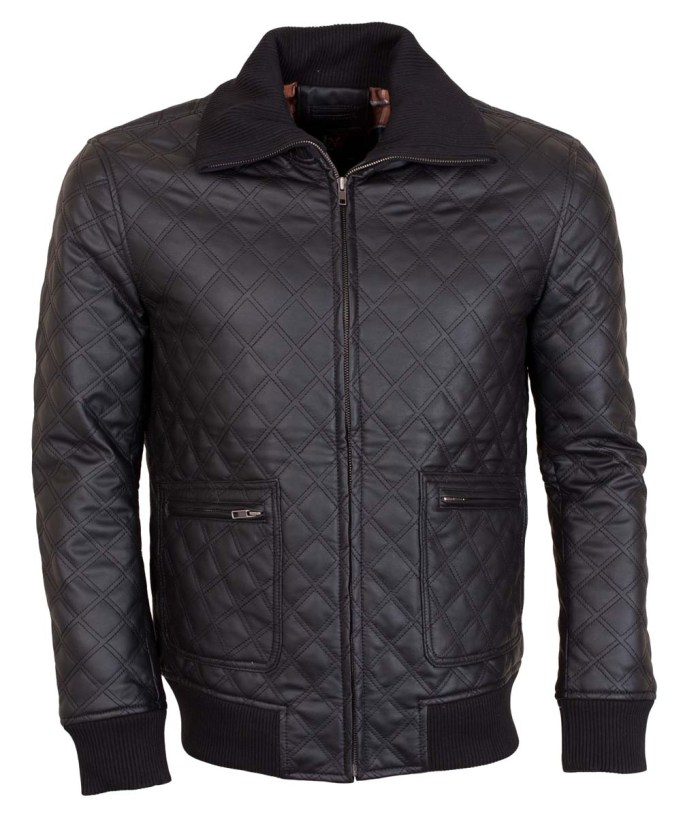 Men's Faux Brown Square Grid Quilted Casual Leather Jacket
