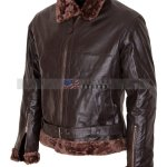B3 Bomber Aviator Mens Brown Fur Leather Jacket Discounted Sale USA