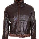 B3 Bomber Aviator Mens Brown Fur Leather Jacket Free Shipping USA UK Canada