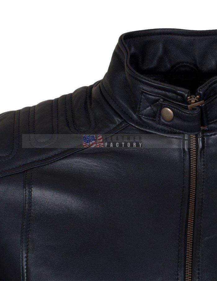 Padded Motorcycle Leather Jacket