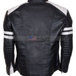 Fight Club Hybrid Black Leather Biker Jacket For Sale Free Shipping  Onine