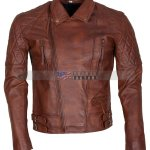 Mens Classic Diamond Brown Motorcycle Leather Jacket Sale