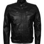 Mens Black Genuine Leather Quilted Jacket