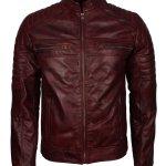 Mens Cafe Racer Maroon Waxed Vintage Biker Leather Jacket