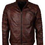 Mens Dark Brown Padded Fashion Leather Jacket