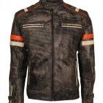 Mens Retro Vintage Grey Distressed Biker Jacket Sale