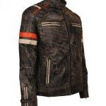 Mens Retro Vintage Grey Distressed Biker Jackets