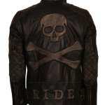 Mens Vintage Skull Black Motorcycle Leather Jacket