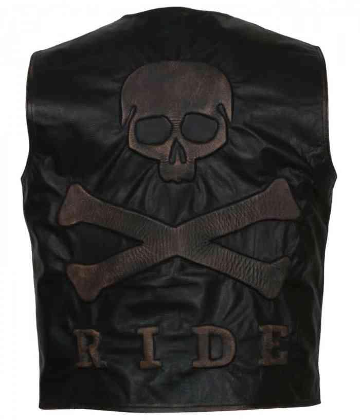 Skull Embossed Leather Vest