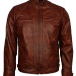 Men Crocodile Quilted Brown Leather Jacket