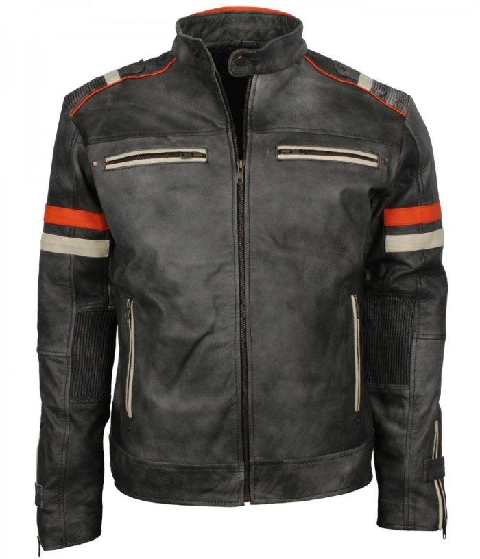 Retro Grey Man Tough Motorcycle Leather Jacket