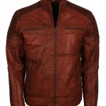 Scarecrow Mens Brown Vintage Leather Jacket Free Shipping