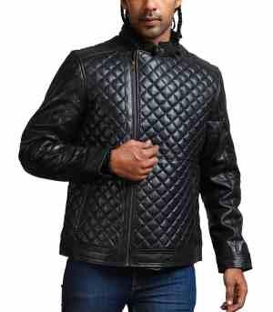 Diamond Quilted Black Men Fashion Jacket USA