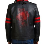 Iron Skull Men Black Real Leather Jacket