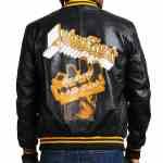 Juda Priest Printed Black Real Leather Jacket Sale
