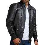Men Icecream Printed Real Leather Jacket Sale
