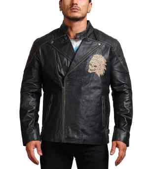 Men Indian Skull Black Leather Jacket Fashion