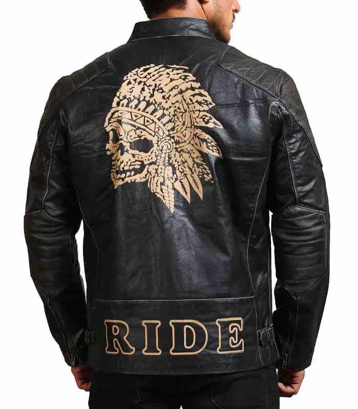 Men Indian Skull Black Leather Jacket