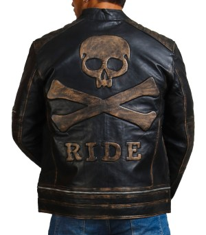 Bones and Skull Black Zipper Biker Jacket