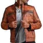 Designer Cafe Racer Vintage Brown Leather Jacket Sale USA Leather Factory