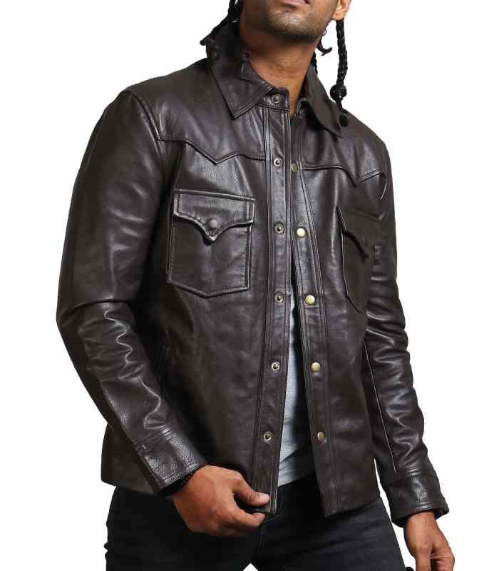 Flap Pocket Choco Brown Leather Jacket USA Men