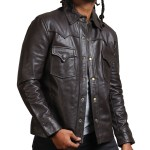 Flap Pocket Choco Brown Leather Jacket USA