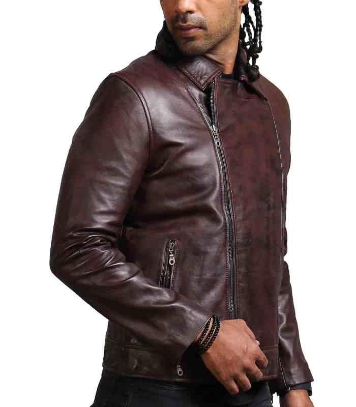Vincent Men Fashion Brown Leather Jacket Sale USA
