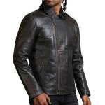 Snake Embossed Men Black Leather Jacket