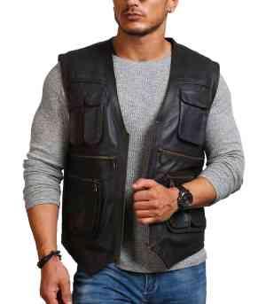Chris Pratt Man Black Leather Vest Sale