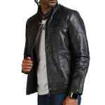 David Beckham Black Biker Leather Jacket Men Fashion