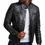 David Beckham Black Biker Leather Jacket Sale USA