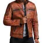 Designer Cafe Racer Vintage Brown Leather Jacket Sale