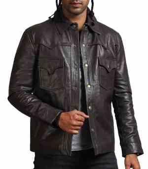 Flap Pocket Choco Brown Leather Jacket