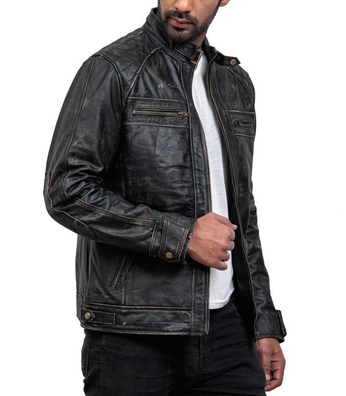 Men Distressed Black Leather Biker Jacket USA