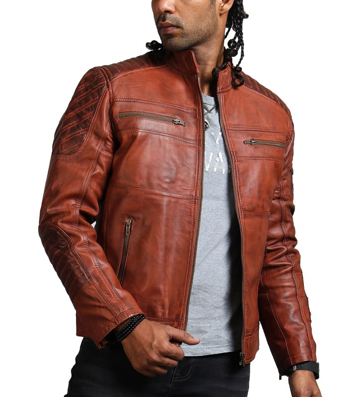 Scarecrow Men Brown Vintage Leather Jacket Sale USA Leather Factory