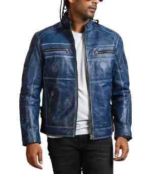 Blue Cafe Racer Mens Vintage Biker Leather Jacket