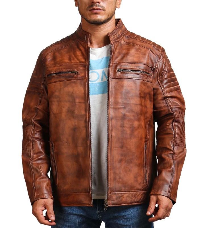 Cafe Racer Vintage Brown Cowhide Motorcycle Jacket Sale