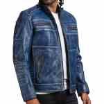 Blue Cafe Racer Jacket