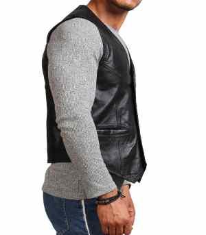Mens Black Biker Cowhide Leather Vest