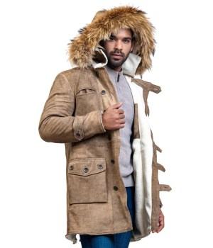 Bane Men Fur Leather Coat