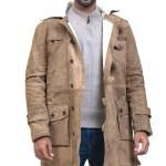 Bane Distressed Brown Cowhide Fur Winter Leather Coat