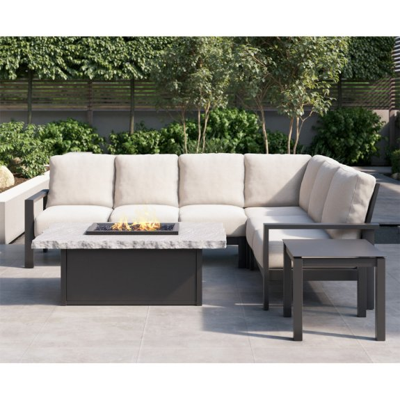 homecrest elements cushion patio sectional with slate fire table