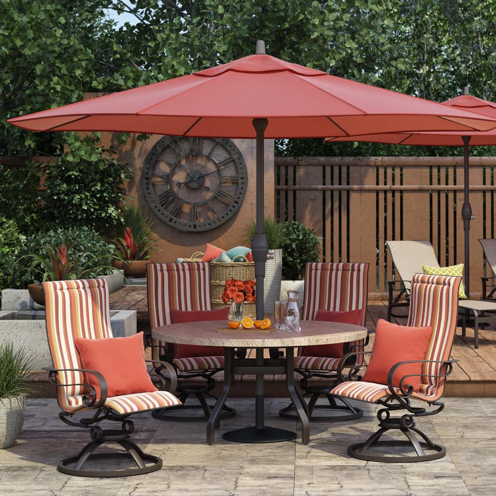 homecrest emory sling high back swivel rocker outdoor dining set with sandstone table