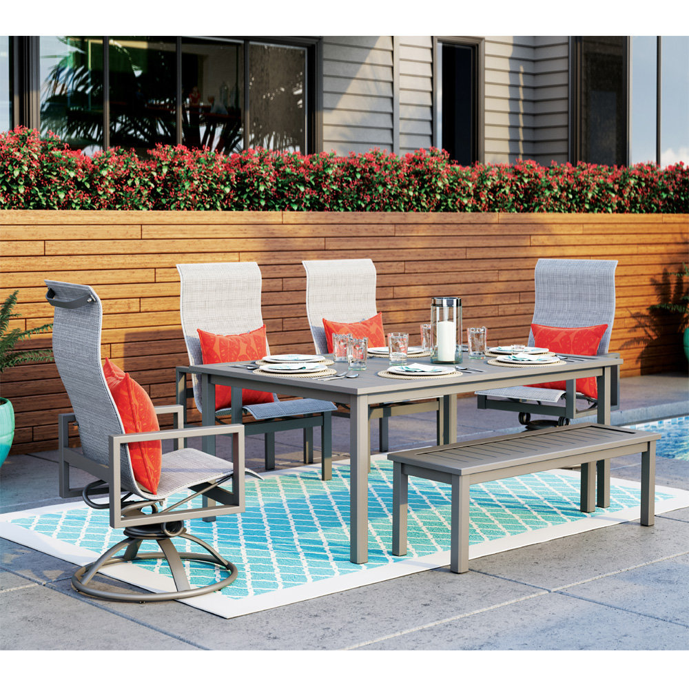 homecrest sutton sling patio dining set with bench
