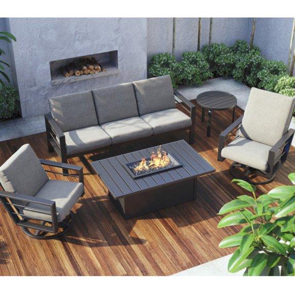 homecrest sutton patio set with breeze fire pit table
