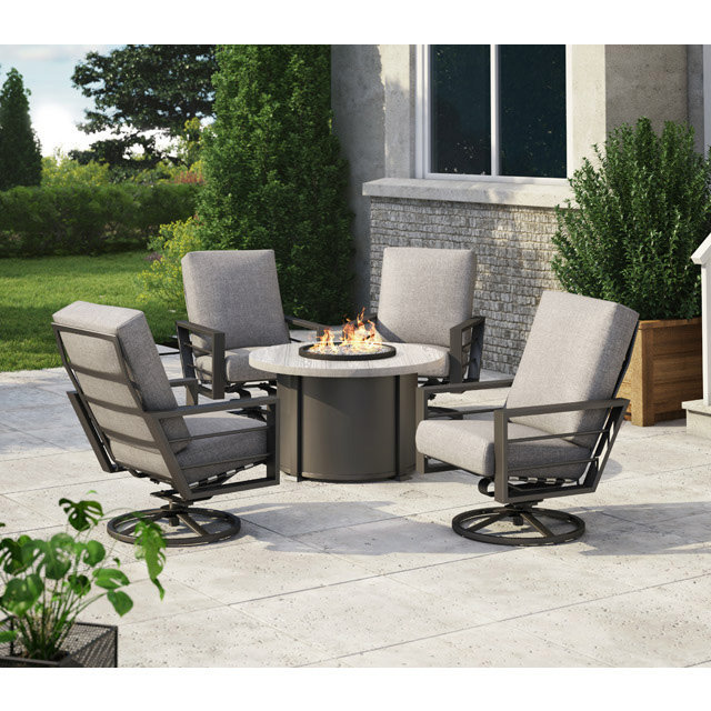 homecrest sutton high back swivel rocker patio set with timber fire table