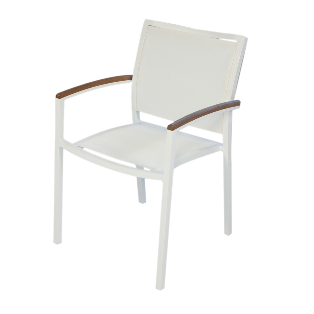 lloyd flanders lux white stacking dining arm chair with sling and teak accents set of 4